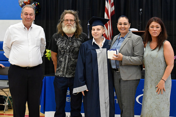 6/22/2018 Mike Orazzi | Staff Bristol Tech student Jonathan Tataranowicz is presented with the Michael's Jewelers 2018 CTE Student Award during the Bristol Tech graduationFriday morning at the Bristol Boys & Girls Club.