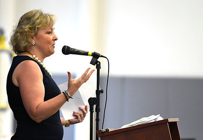 6/22/2018 Mike Orazzi | Staff Sue Sadecki, President and CEO of the Main Street Foundation during the Bristol Tech graduationFriday morning at the Bristol Boys & Girls Club.