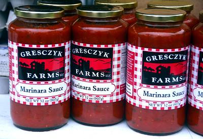 6/23/2018 Mike Orazzi | Staff Grescyk Farms' items for sale at the Bristol Farmers Market Saturday in downtown Bristol.