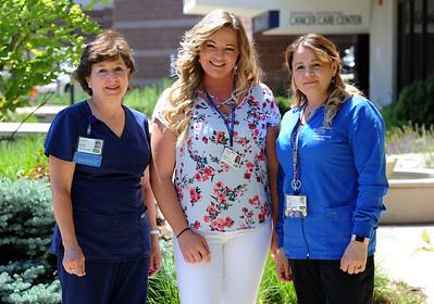 6/26/2018 Mike Orazzi | Staff Bristol Hospital's employees of the year, left to right: Bristol Hospital Employee of the Year - Kathy Cutter, BSN, RN, CRNI I.V. Therapy, Ingraham Manor Employee of the Year – Michelle Labbe and Bristol Hospital Multi-Specialty Group Employee of the Year - Elsa Pasha.