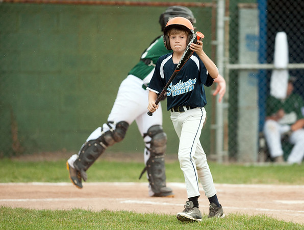 06/27/18 Wesley Bunnell   Staff Forestville Little League defeated Southington North 2-0 on Wednesday afternoon in Southington. Christian Hewko (21) walks out of the batters box after striking out on the bottom of the 6th inning.