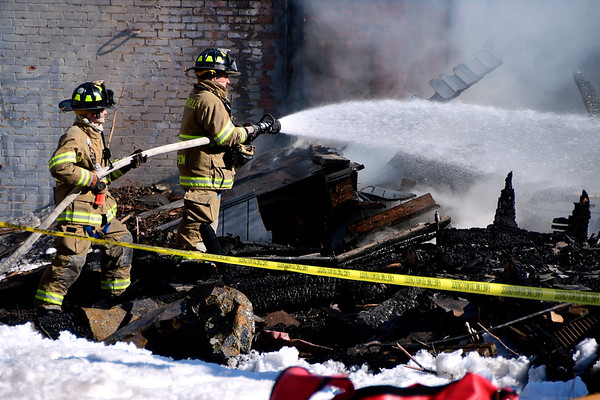 3/17/2017 Mike Orazzi   Staff Terryville Volunteer Firefighters back on scene of a fire at the former OZ Gedney factory on Route 72 in Pequabuck section of Plymouth Friday afternoon after some hot spots started burning again.