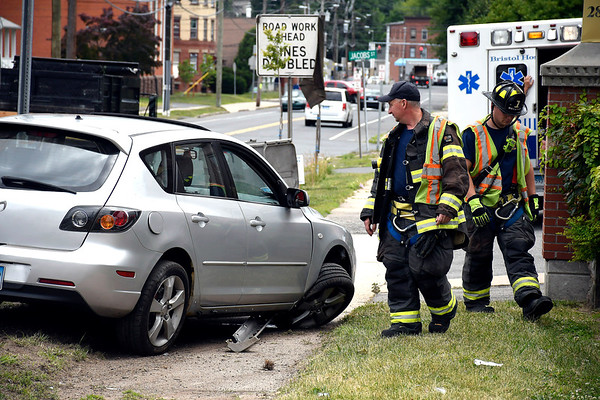 6/27/2018 Mike Orazzi | Staff The scene of a two car crash at the intersection of West and Haviland Streets in Bristol Wednesday. Only minor injuries were reported.