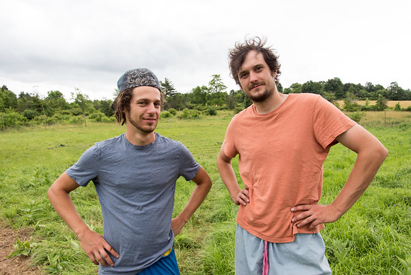 06/27/18 Wesley Bunnell | Staff Organic farming consultant Clayton Beckett, L, and owner of Rooster Rise Farm Brent Biederman stand in the garden area of the farm which is currently undergoing renovations.