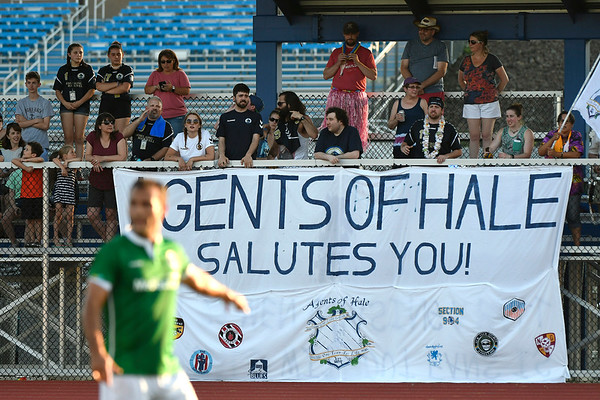 6/30/2018 Mike Orazzi | Staff Fans during Hartford City FC's during Saturday evening's match with the New York Cosmos at CCSU in New Britain.