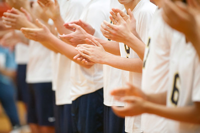 06/07/18  Wesley Bunnell | Staff  Newington volleyball defeated Joel Barlow on Thursday night at Shelton High School to claim the Class M State Championship. Players clap as they are introduced before the match.
