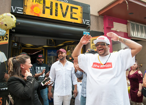 06/07/18 Wesley Bunnell | Staff The Hive in downtown New Britain held a ribbon cutting ceremony on Thursday afternoon after a soft opening earlier in the year. The shop carries New Britain clothing as well as an assortment of small electronics. Co-owners Damon King, center, and Steve Ayala share a laugh with New Britain Mayor Erin Stewart.