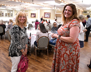 6/7/2018 Mike Orazzi | Staff Jeanine Audette talks with Mountain View School Principal Mary Hawk during the annual Mentor Awards lunch at Nuchie's Thursday.
