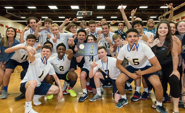 06/07/18 Wesley Bunnell | Staff Newington volleyball defeated Joel Barlow on Thursday night at Shelton High School to claim the Class M State Championship.