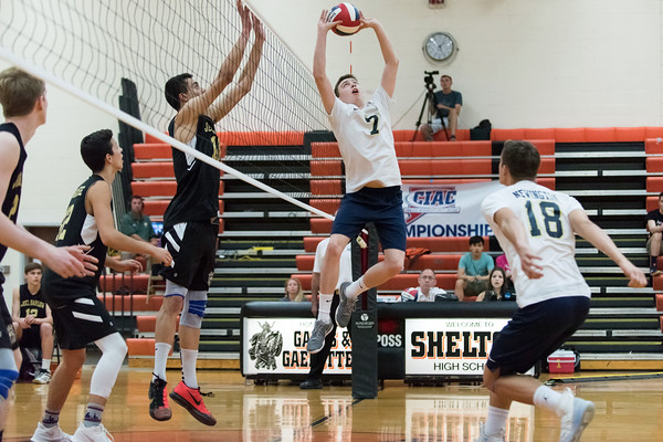 06/07/18 Wesley Bunnell | Staff Newington volleyball defeated Joel Barlow on Thursday night at Shelton High School to claim the Class M State Championship. Daniel Cloutier (7) and Teddy Fravel (18).