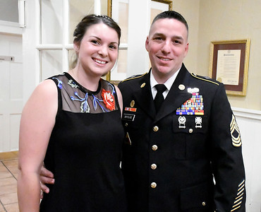 6/8/2018 Mike Orazzi | Staff Keynote Speaker Sgt. Nicole Knoll and her fiancee Sam DeFelice during the 8th Annual Salute Dinner held at Nuchie's in Forestville Friday evening. Vincent plans to join the navy.