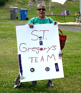 6/8/2018 Mike Orazzi | Staff Jeannie O'Neil, a 21 year cancer survivor and member of the St. Gregory's Team, during the Bristol Relay for Life held on Memorial Blvd. Friday.