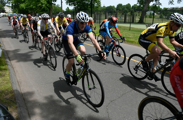 6/9/2018 Mike Orazzi | Staff Cyclists during the Nutmeg State Games Cycling Criterium held in Walnut Hill Park in New Britain Saturday.