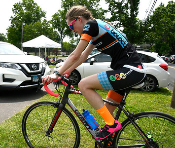 6/9/2018 Mike Orazzi | Staff Cyclist Amy Ousterhout warms up during the Nutmeg State Games Cycling Criterium held in Walnut Hill Park in New Britain Saturday.