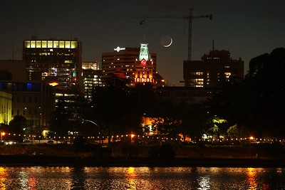 Tribune Tower and the moon