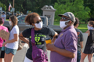 Tracy and Marvin Brandon were among a number of members and clergy from Gethsemane Baptist Church who joined in the early protest and the subsequent Community Solidarity March. [Bill Giduz photo]