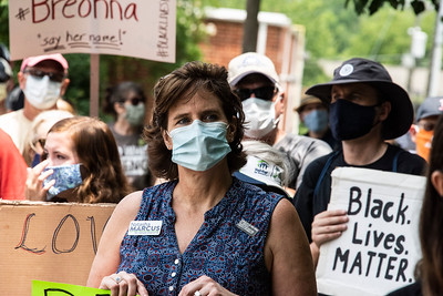 State Senator, and Davidson resident, Natasha Marcus was one of hundreds of marchers in the Community Solidarity March #BlackLivesMatter [Bill Giduz photo]