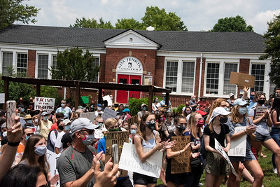 "Just part of the crowd gathered at the Ada Jenkins Center during the Community Soldarity March for BlackLivesMatter. Opened in 1937, the ""Davidson Colored School,"" was renamed for teacher Ada Jenkins in 1955. Schools in Davidson were not integrated until 1966. [Bill Giduz photo]"