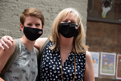 Matching masks for Ellie Merrell and her mom, Kathy Bray. (Bill Giduz photo)