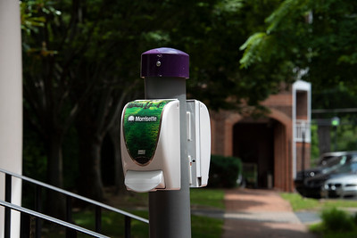 The Town installed hand-sanitizer stations at strategic locations downtown. (Bill Giduz photo)