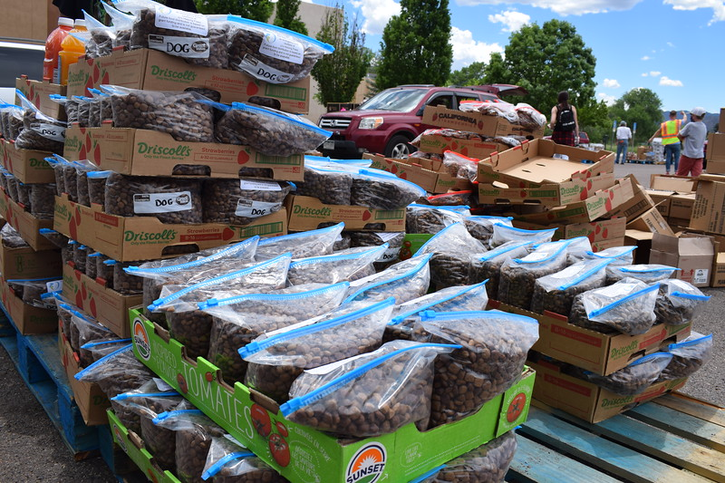 JJ's Helping Paws donated bags of dog and cat food to be handed out during a mass food giveaway hosted by the Vineyard Church and The Pantry of Fremont on Friday. Carie Canterbury/Daily Record 5-29-20
