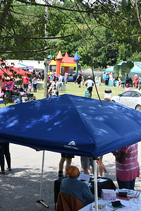 The Juneteenth Celebration had games, a bounce tent, food trucks, and vendors/nonprofit tents.