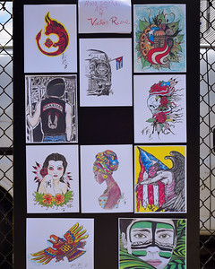 Drawings by Victor Rios of Boston that were added to Decatur Way in Lowell Saturday along with a mural and poems that celebrate Puerto Rican culture. SUN/Robert Mills