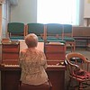 Pearl Ebenezer, playing some lovely hymns on the piano in the Schoolhouse, Moriah Chapel