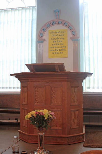 Pulpit in the schoolroom section of Moriah Chapel, which was built in 1842.