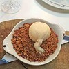 Rhubarb and Ginger Crumble with Vanilla Ice Cream