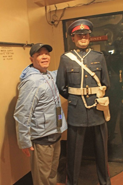 Stan with Royal Marine Guard, Churchill War Rooms