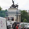 Wellington Arch is a triumphal arch forming a centrepiece of Hyde Park Corner in central London between corners of Hyde Park and Green Park — it sits on a large traffic island having pedestrian access subways (En route to the Churchill War Rooms