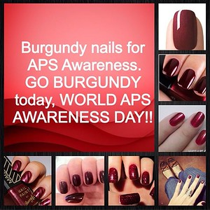 BURGUNDY nails for APS Awareness. If you paint your nails please pick burgundy this month and post a photo on Instagram. Help us spread awareness! 💅 #apsawareness #goburgundy #aps #antiphospholipid #nails #burgundy