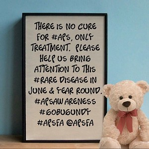 There is no cure for #APS, inly treatment. Help us bring awareness to thus #rare disease in June and through out the year. #APSAwareness #GoBurgundy #autoimmune #Antiphospholipid #apsfa @apsfa