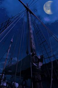 """Midnight Aboard the 'Yukon', Huon River, Tasmania."""