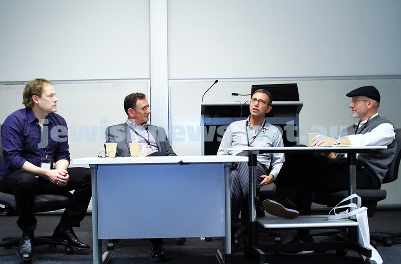 7-6-14. Limmud Oz 2014. Making Movies: Motives and Messages. From left: Shaun Miller, Matthew Kalman, Danny Ben-Moshe, Salvador Litvak. Photo: Peter Haskin