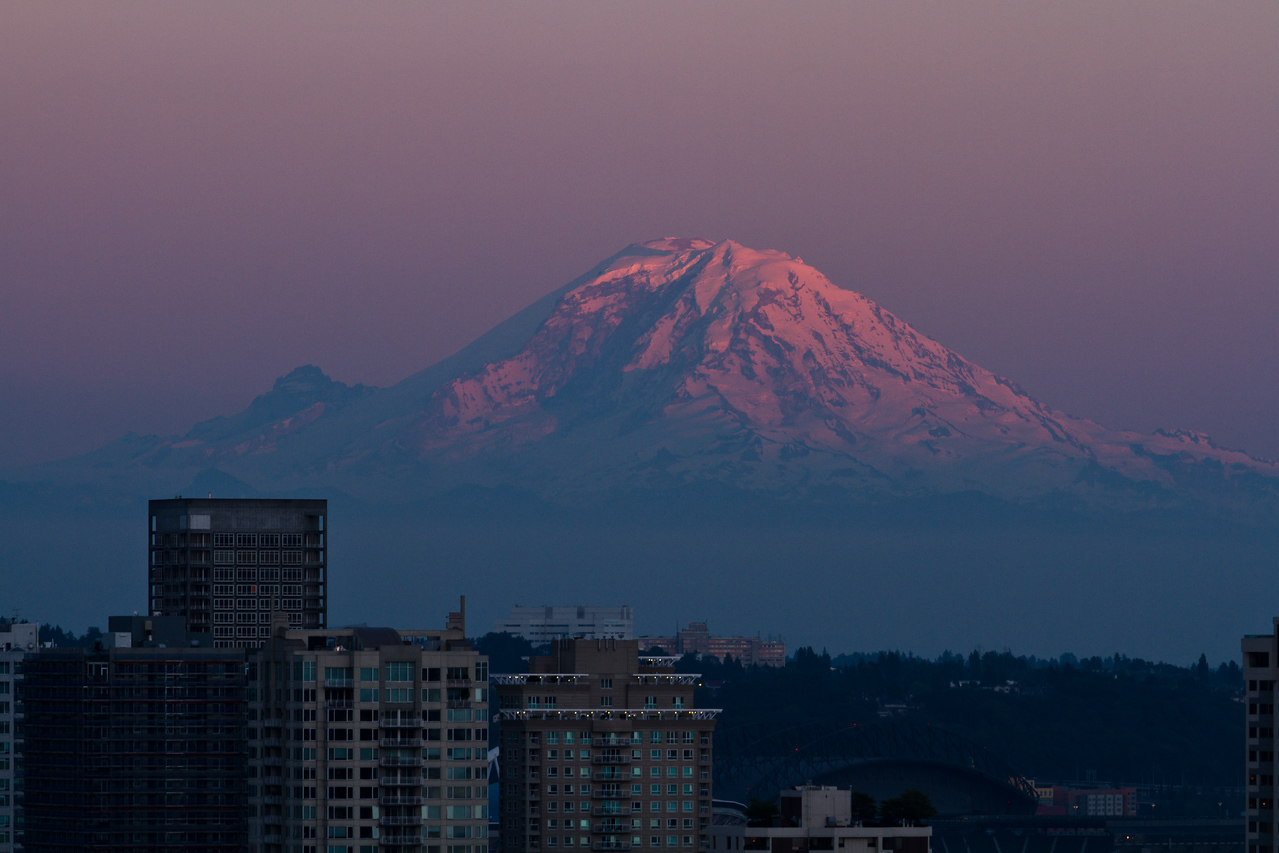 Mount Ranier, lit by the last rays of light of the day