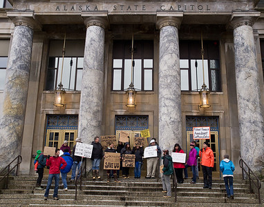 Juneau protesters occupy the steps of the Alaska Capitol on Saturday, October 22.