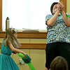 Jungle Jim performed his balloon and magic show at the Leominster Public Library on Wednesday afternoon. During the show Jim got help from Emma Keney, 7, from Leominster who took hom out with a balloon lightsaber. SENTINEL & ENTERPRISE/JOHN LOVE