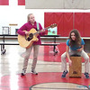 "DIVISION II SPECIAL TALENT COMPETITION—Oran Guardian Angel students Logan Dame and Jordan Diebold practiced their talent entry, ""Jolene"" for fellow students, prior to placing in the Top 5 of 26 entries in the Talent Competition of the Missouri Junior Beta Convention held March 8 and 9 in Poplar Bluff. (<i>The Mirror</i>)"