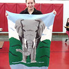 ELEPHANT AFGHAN—Lydia Tankersley held her Third place winning entry in the Fiber Arts category of the March 8 and 9 Missouri  Junior Beta Convention. Tankersley is a student in Guardian Angel School, Oran. (<i>The Mirror</i>)