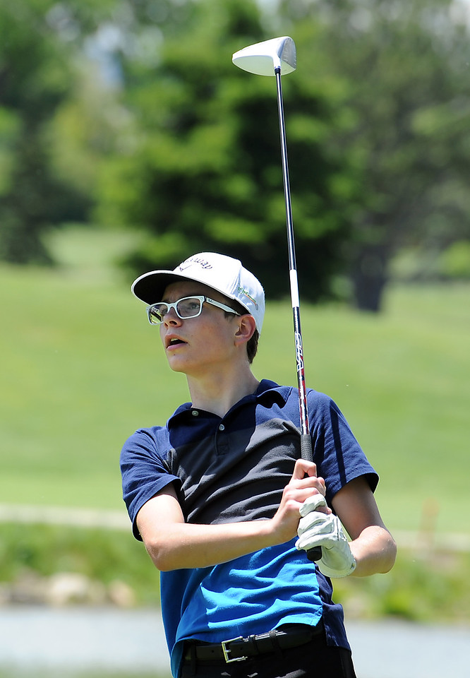 Joseph Flock tees off Monday, June 6, 2016, during the 2016 Junior Golf Tournament at the Olde Course in Loveland. (Photo by Jenny Sparks/Loveland Reporter-Herald)