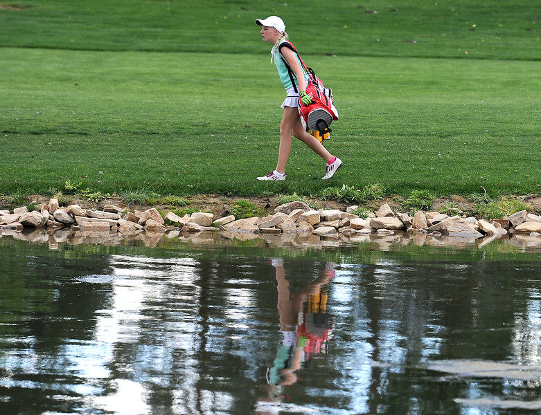 Katelyn Lehigh walks towards the green Monday, June 6, 2016, while competing in the 2016 Junior Golf Tournament at the Olde Course in Loveland. (Photo by Jenny Sparks/Loveland Reporter-Herald)