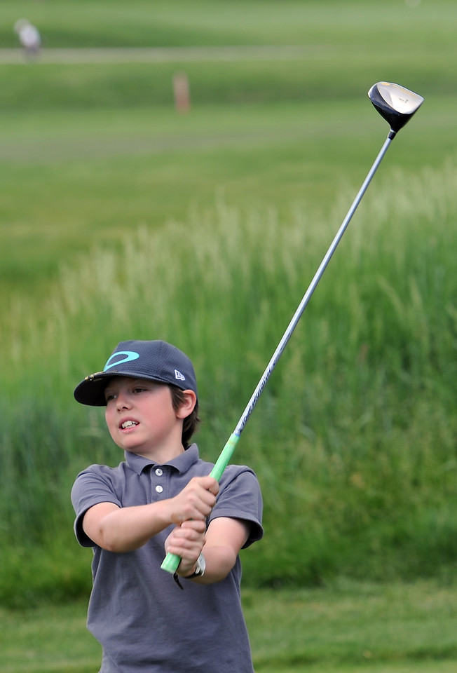 Jace Brasher tees off Monday, June 6, 2016, during the 2016 Junior Golf Tournament at the Olde Course in Loveland. (Photo by Jenny Sparks/Loveland Reporter-Herald)
