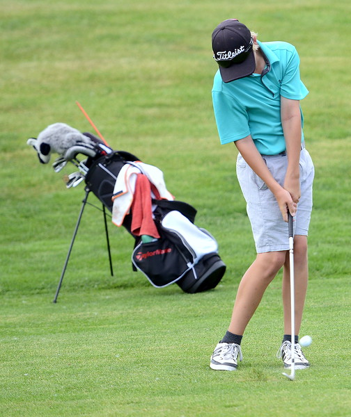 Keeton Koch won the boys 12-13 group with a nine-hole round of 47 during the Junior Optimist golf tournament Monday at the Olde Course in Loveland. (Mike Brohard/Loveland Reporter-Herald)