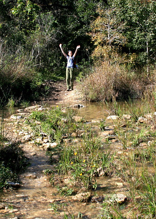 Kieve triumphantly crosses the stream, proving to the rest of us that it can be done!