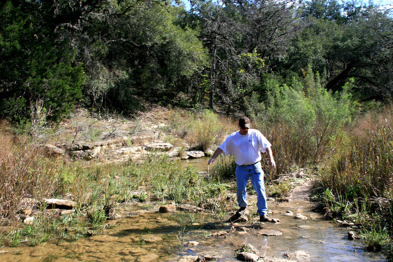 Kevin Successfully navigates a water hazard on the trail!