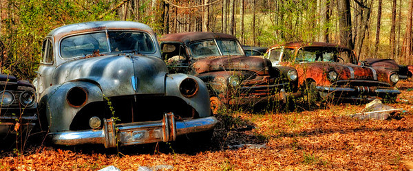 """Neighbors"" - Row of Antique Cars - Catalog #0037"