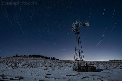 32-minute exposure, windmill lit by half moon
