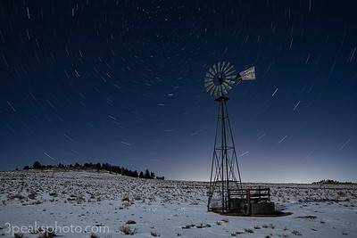 16-minute exposure, windmill lit by moonlight